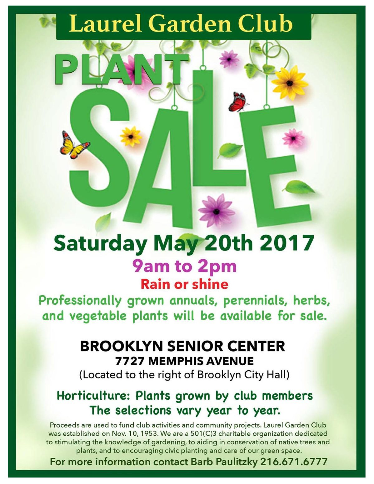 Plant Sale is Sat., May 20, 2017