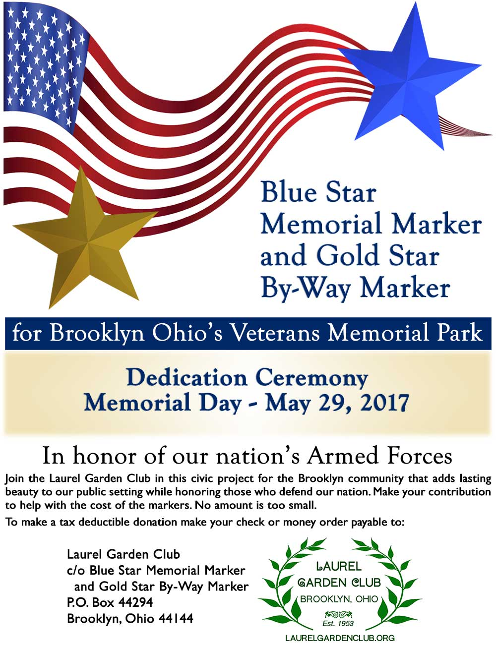 Blue Star Memorial Marker and Gold Star By-Way Marker for Veterans Memorial Park